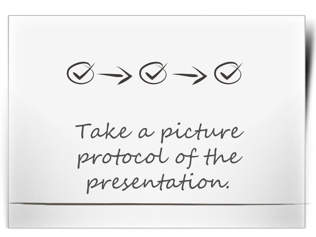 Take a picture protocol of the presentation.