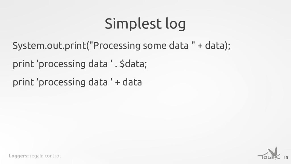 Loggers: regain control Simplest log 13 System....