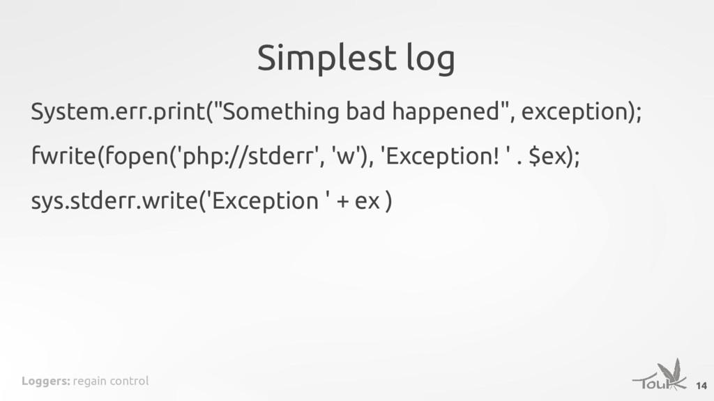 Loggers: regain control Simplest log 14 System....