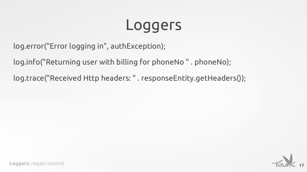 "Loggers: regain control Loggers 17 log.error(""E..."