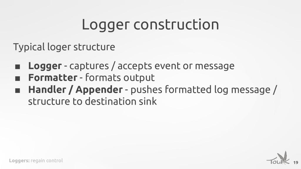 Loggers: regain control Logger construction 19 ...