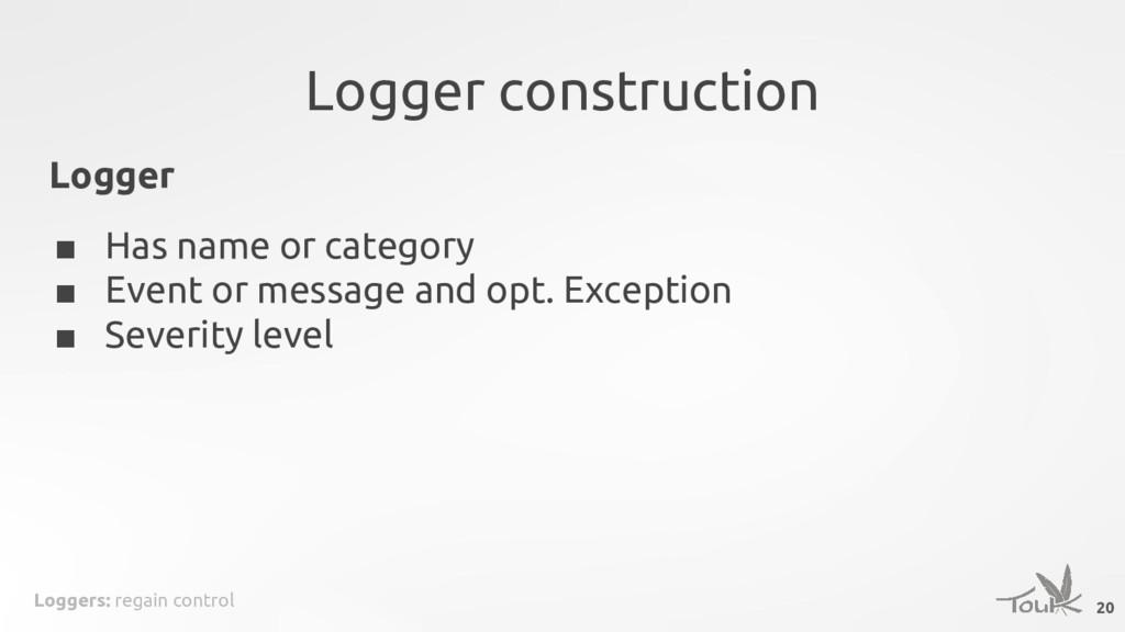Loggers: regain control Logger construction 20 ...