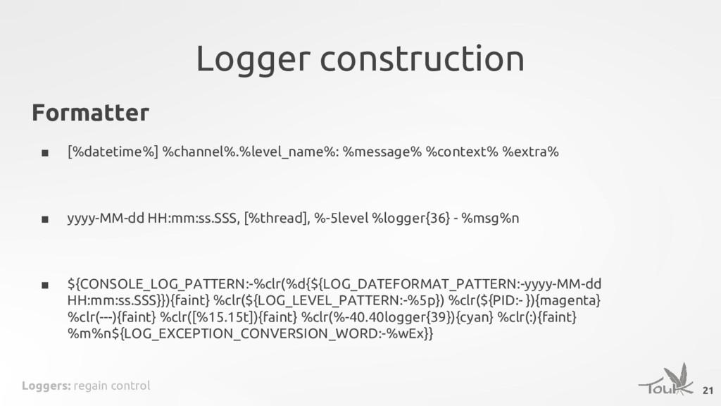 Loggers: regain control Logger construction 21 ...