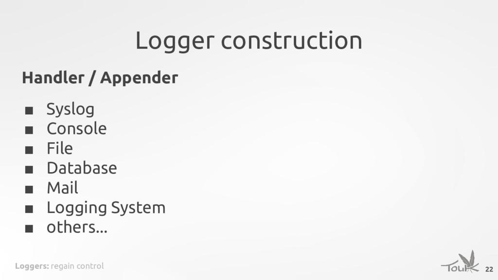 Loggers: regain control Logger construction Han...