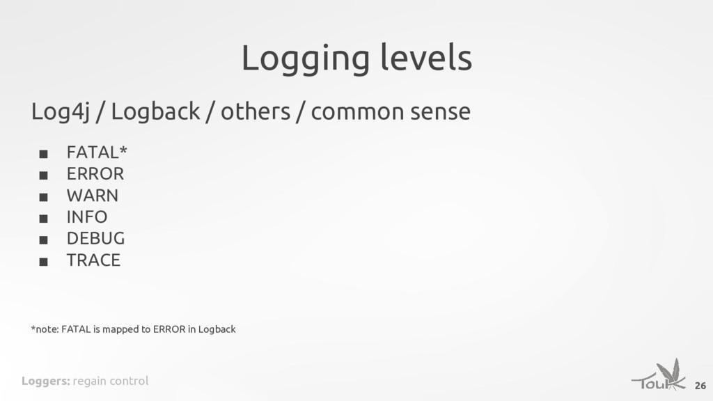 Loggers: regain control Logging levels Log4j / ...