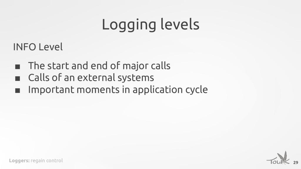 Loggers: regain control Logging levels INFO Lev...