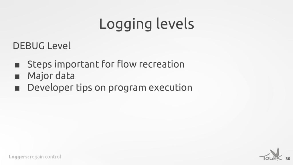 Loggers: regain control Logging levels DEBUG Le...