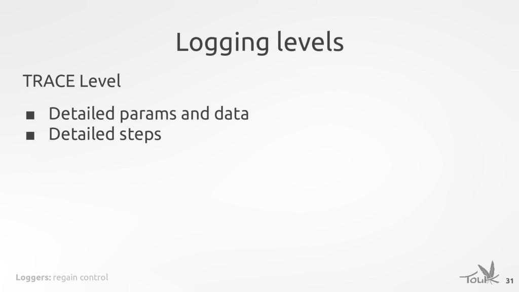 Loggers: regain control Logging levels TRACE Le...