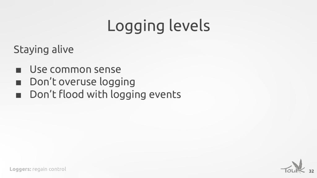 Loggers: regain control Logging levels Staying ...