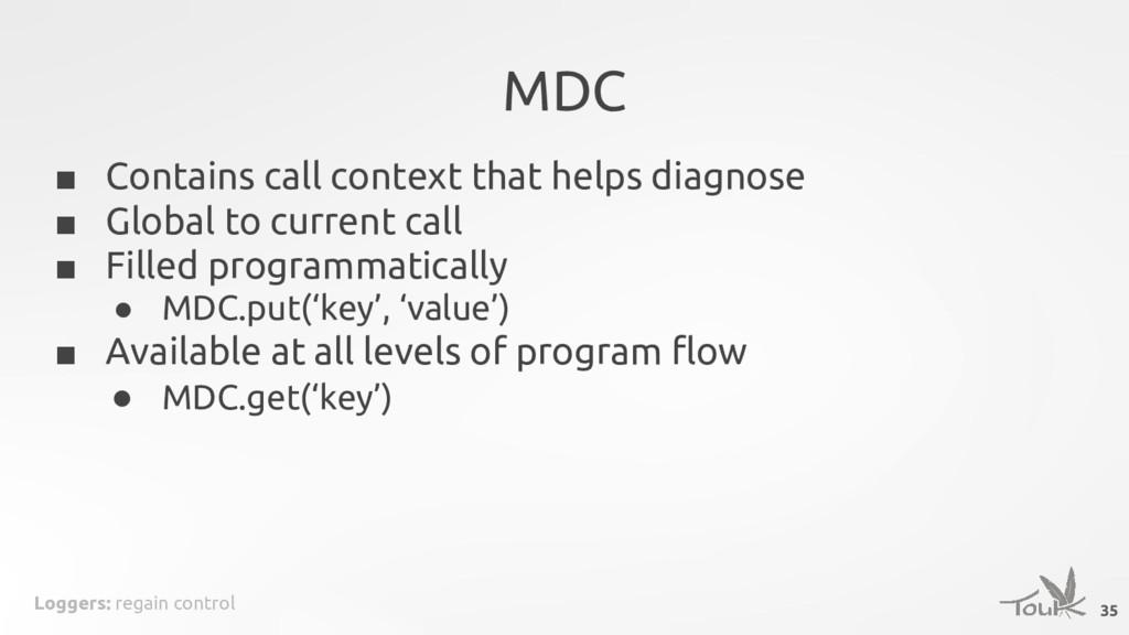 Loggers: regain control MDC 35 ■ Contains call ...