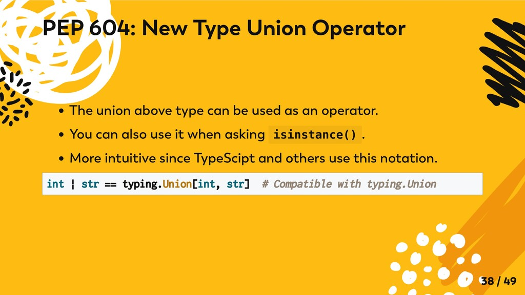 The union above type can be used as an operator...