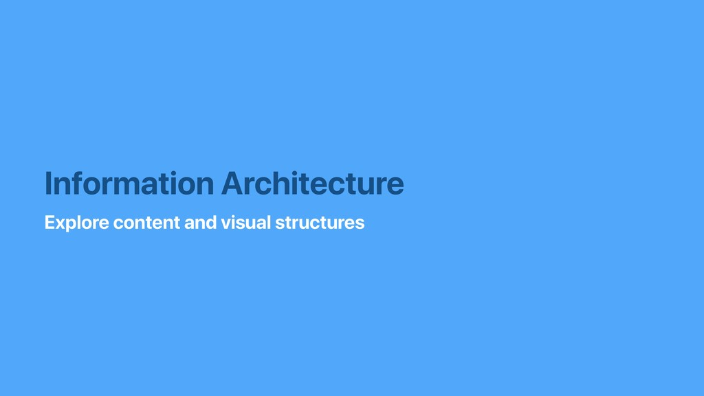 Information Architecture Explore content and vi...