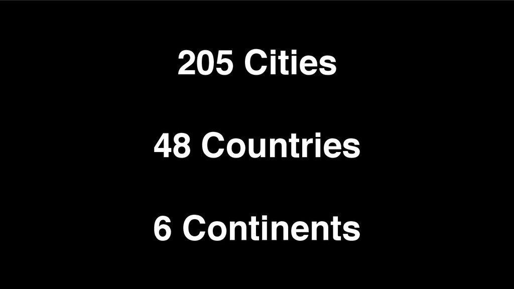 205 Cities 48 Countries 6 Continents