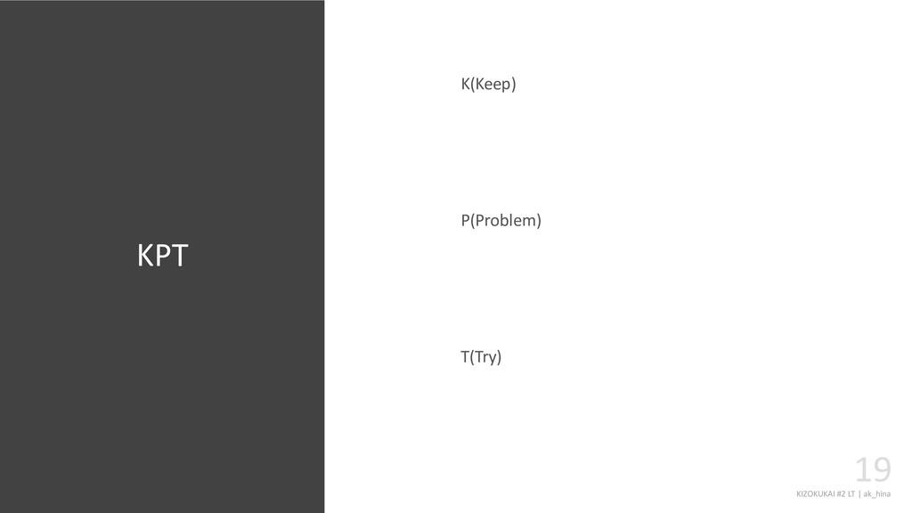 KIZOKUKAI #2 LT | ak_hina 19 K(Keep) P(Problem)...