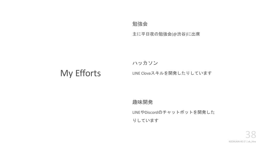 KIZOKUKAI #2 LT | ak_hina 38 My Efforts 主に平日夜の勉...