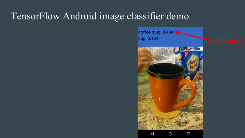 TensorFlow Android image classifier demo Confid...