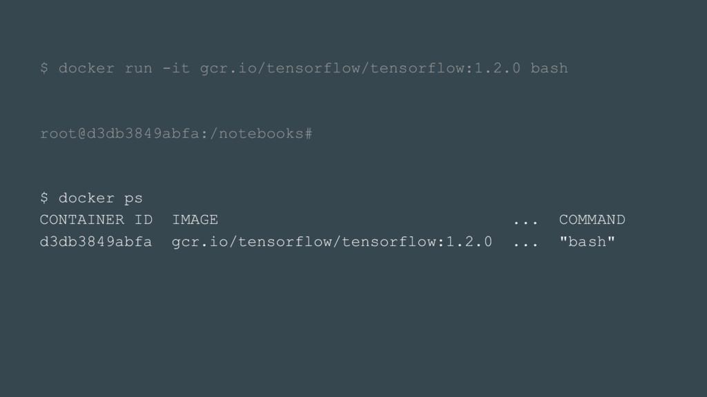 $ docker run -it gcr.io/tensorflow/tensorflow:1...