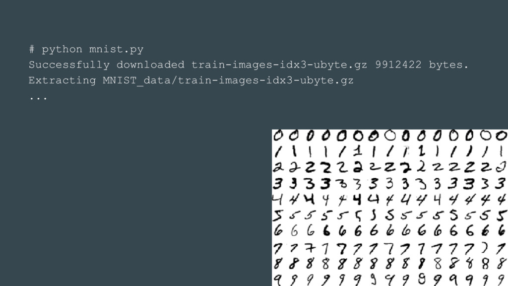 # python mnist.py Successfully downloaded train...
