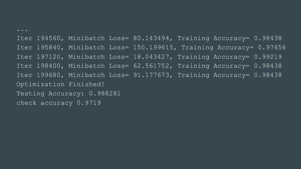 ... Iter 194560, Minibatch Loss= 80.143494, Tra...