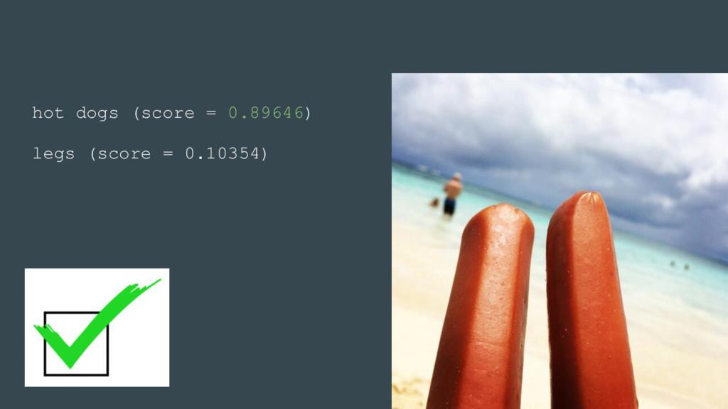 hot dogs (score = 0.89646) legs (score = 0.1035...