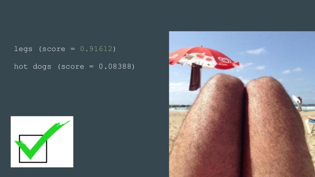 legs (score = 0.91612) hot dogs (score = 0.0838...