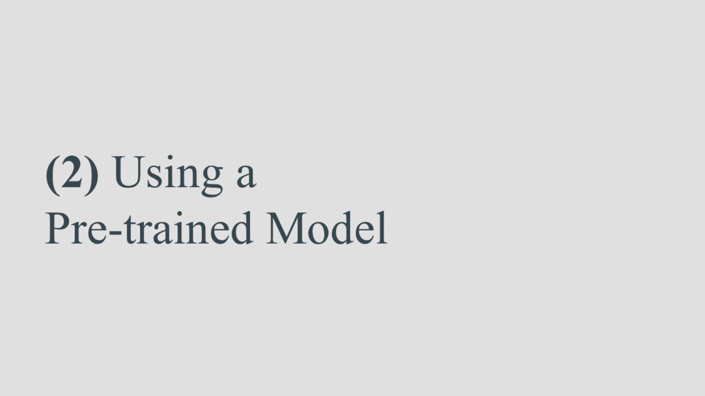 (2) Using a Pre-trained Model