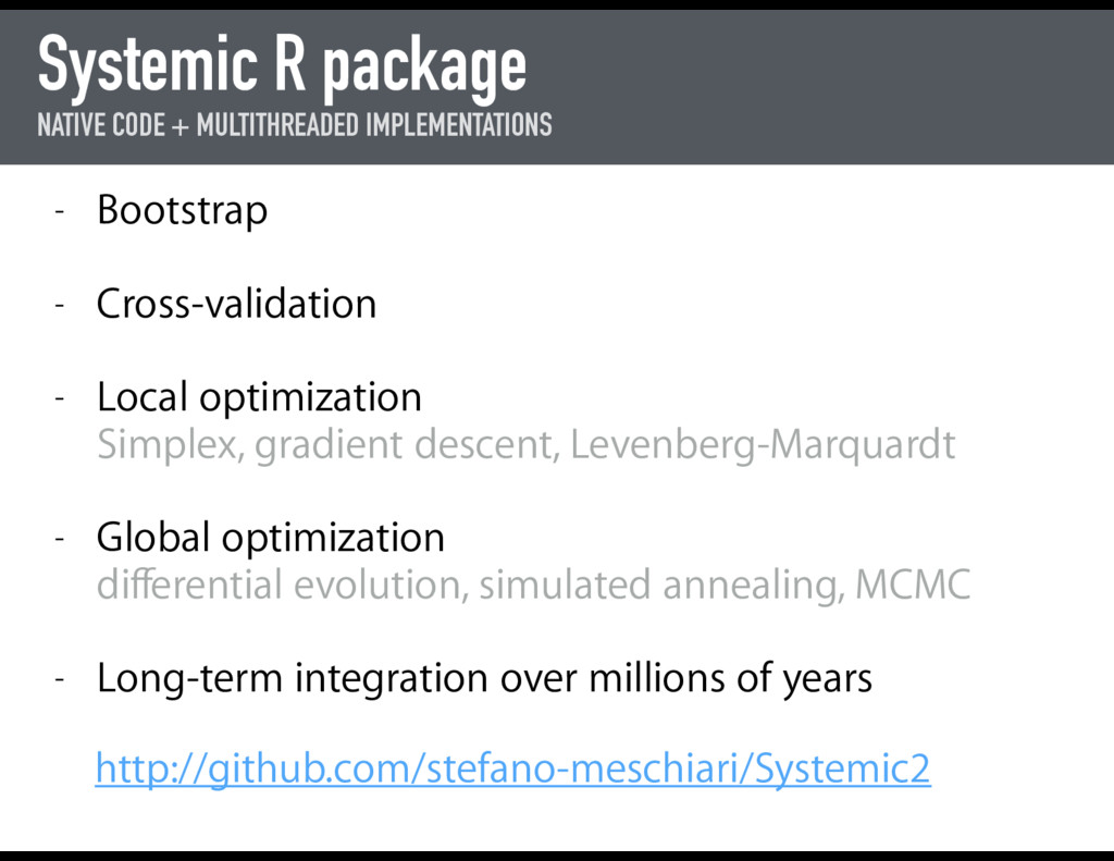Systemic R package NATIVE CODE + MULTITHREADED ...