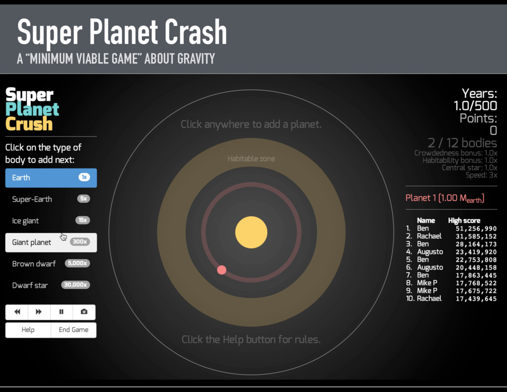"Super Planet Crash A ""MINIMUM VIABLE GAME"" ABOU..."