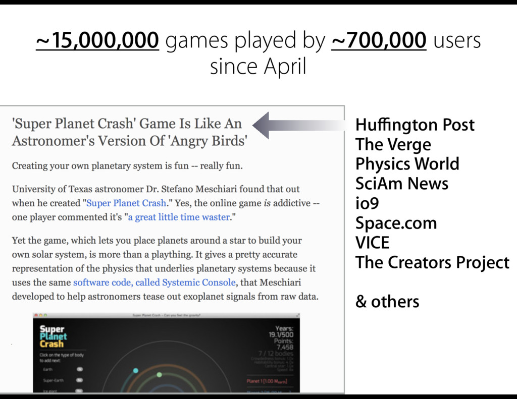 ~15,000,000 games played by ~700,000 users sinc...