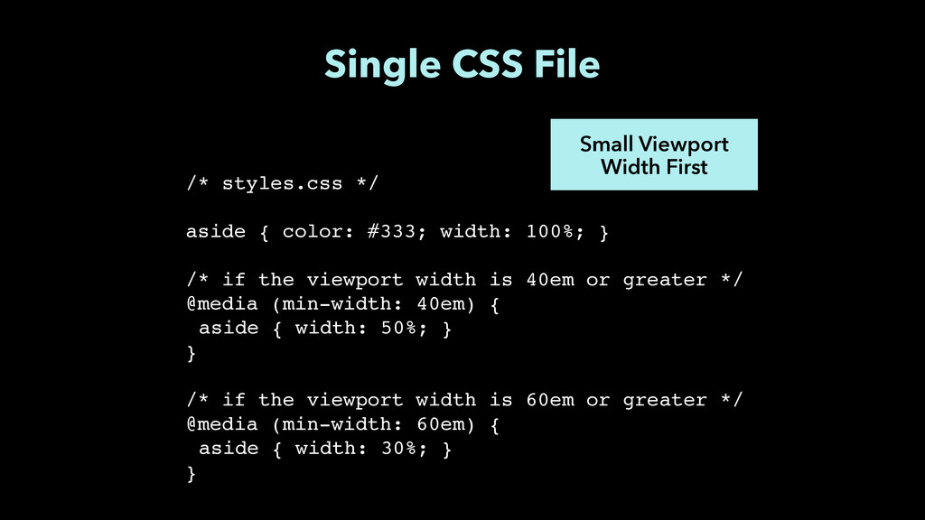 Single CSS File Small Viewport Width First /* s...