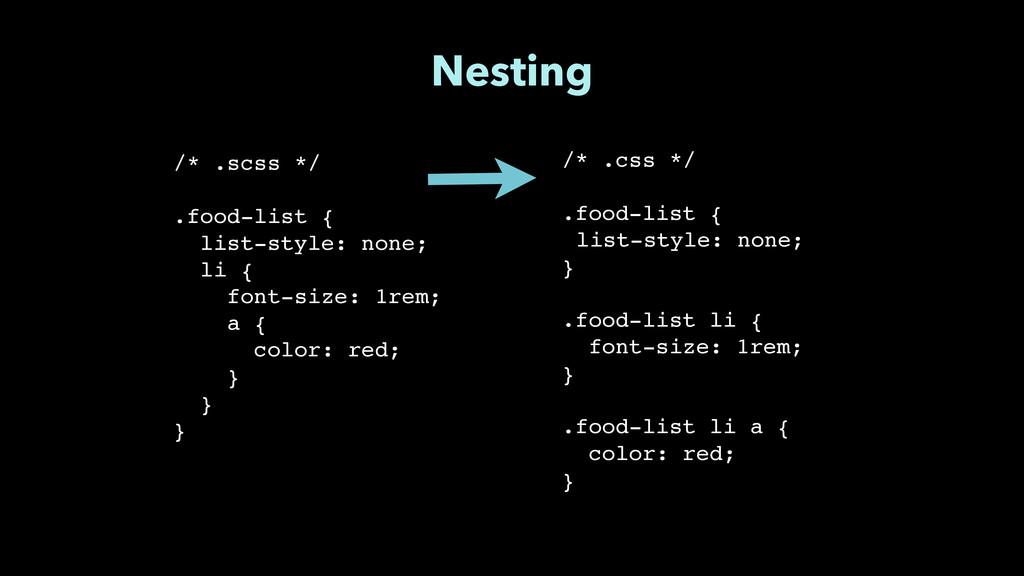 """Nesting /* .css */"""" ! .food-list {"""" list-style:..."""