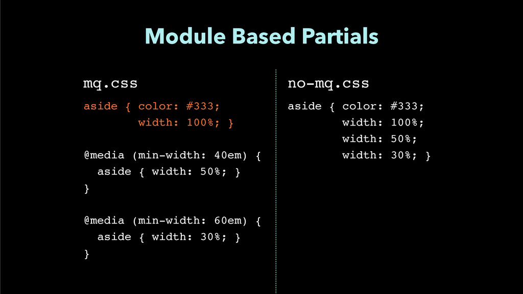 """Module Based Partials mq.css"""" ! aside { color: ..."""
