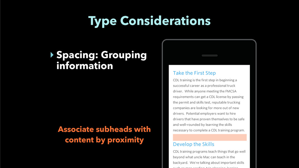 Type Considerations ‣ Spacing: Grouping informa...