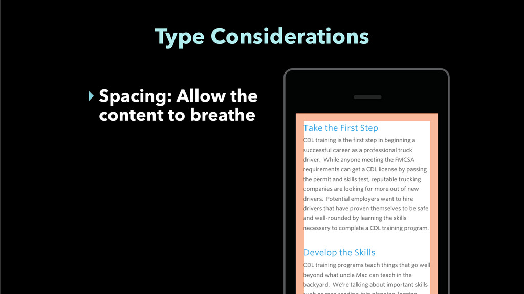 Type Considerations ‣ Spacing: Allow the conten...