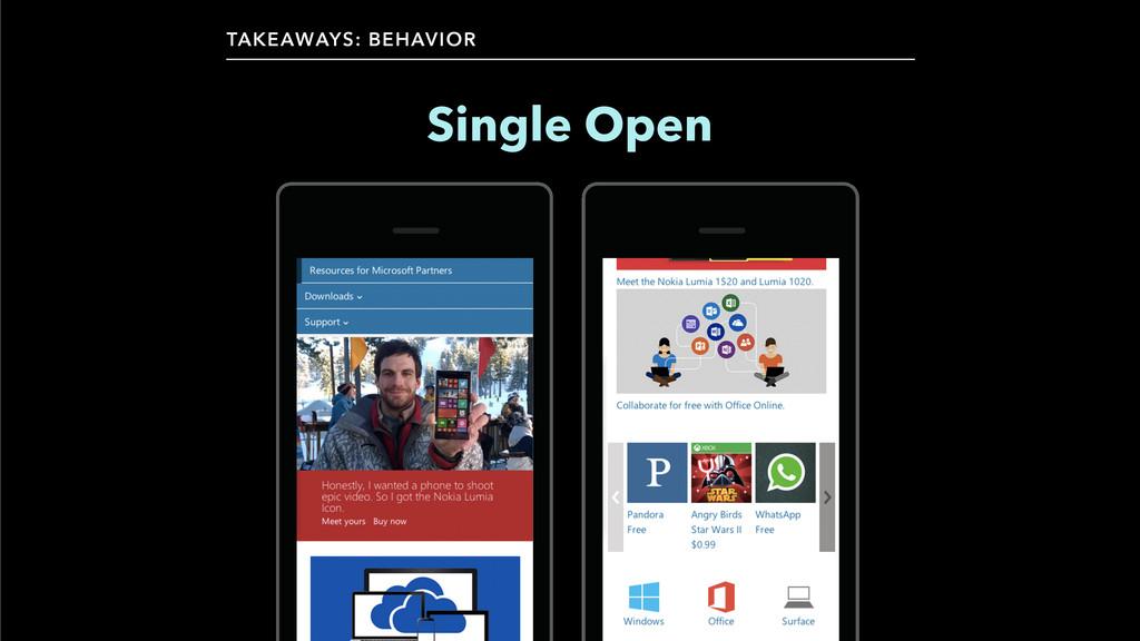 TAKEAWAYS: BEHAVIOR Single Open