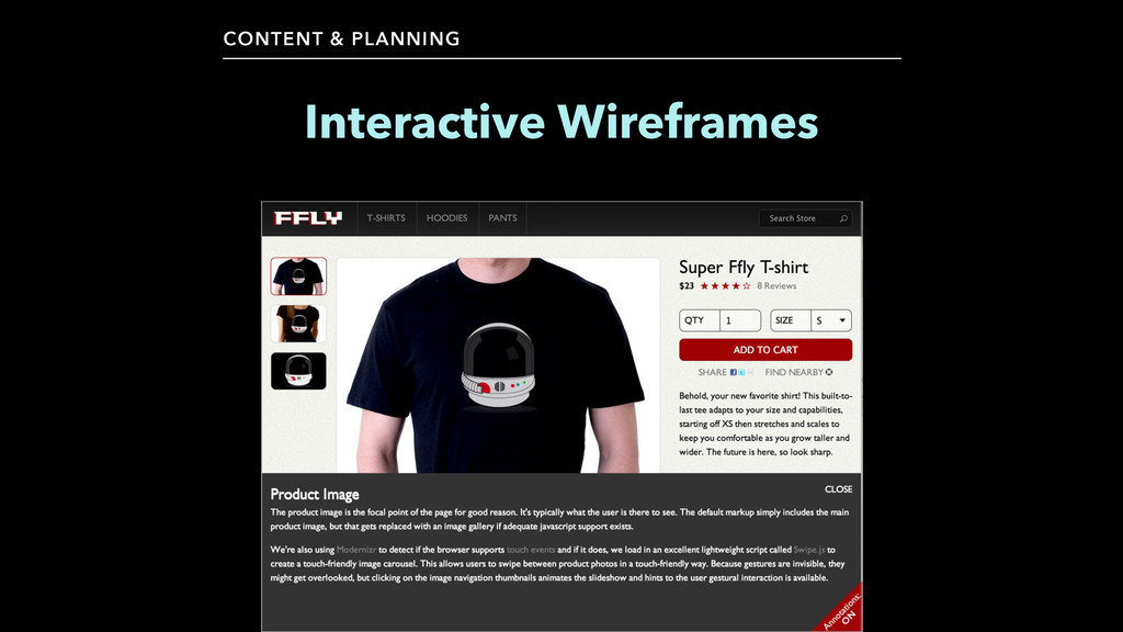 CONTENT & PLANNING Interactive Wireframes