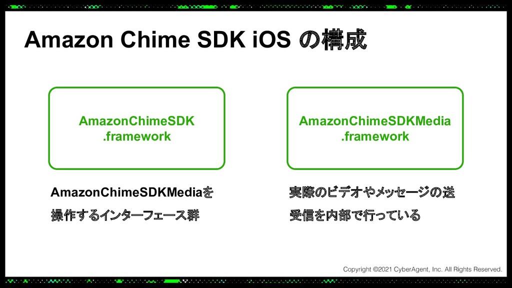 Amazon Chime SDK iOS の構成 AmazonChimeSDK .framew...