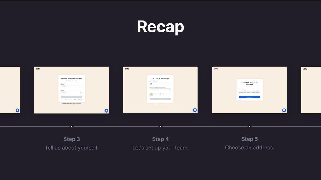 Recap Step 4 Let's set up your team. Step 3 Tel...