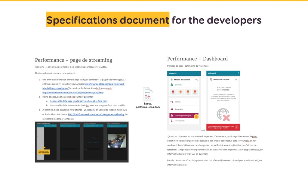 Specifications document for the developers