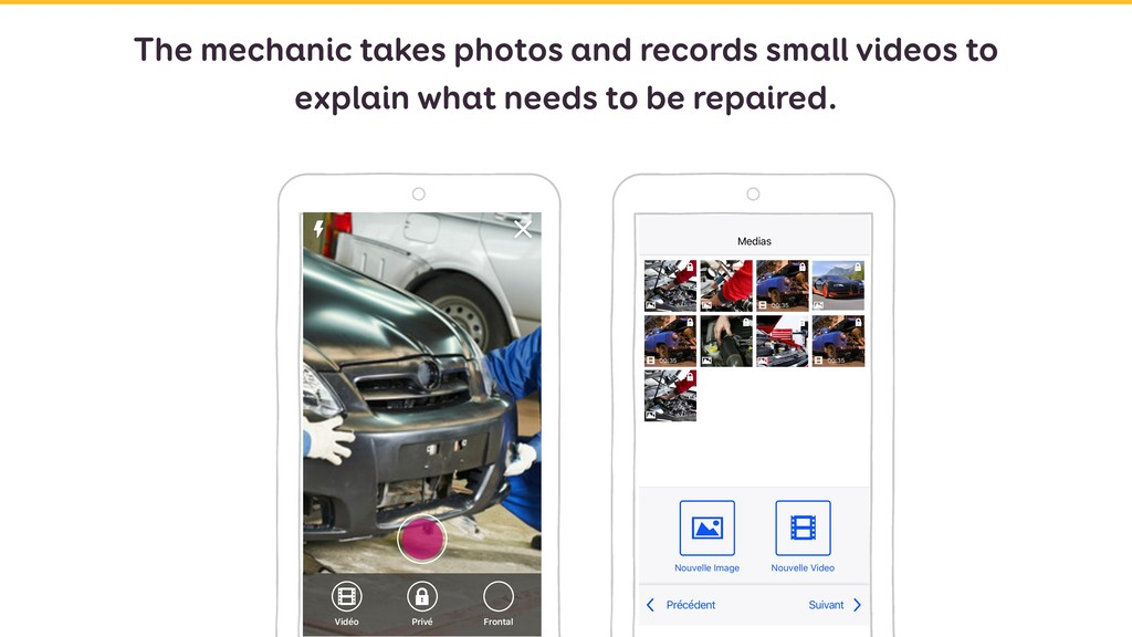 The mechanic takes photos and records small vid...