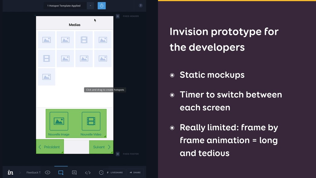 ๏ Static mockups ๏ Timer to switch between each...