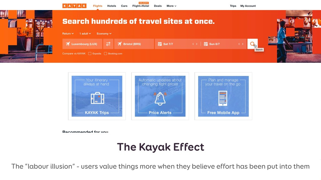 "The Kayak Effect The ""labour illusion"" - users ..."