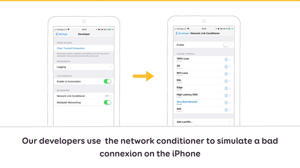 Our developers use the network conditioner to s...