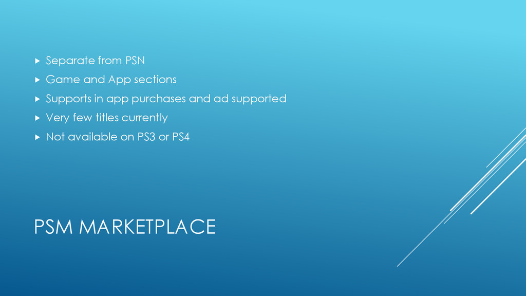 PSM MARKETPLACE  Separate from PSN  Game and ...