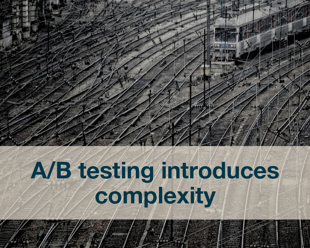 A/B testing introduces complexity