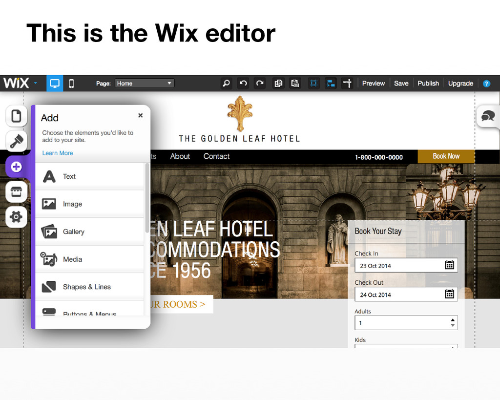 This is the Wix editor