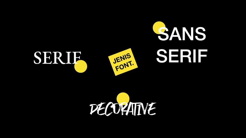 JENIS FONT. SANS SERIF SERIF DECORATIVE