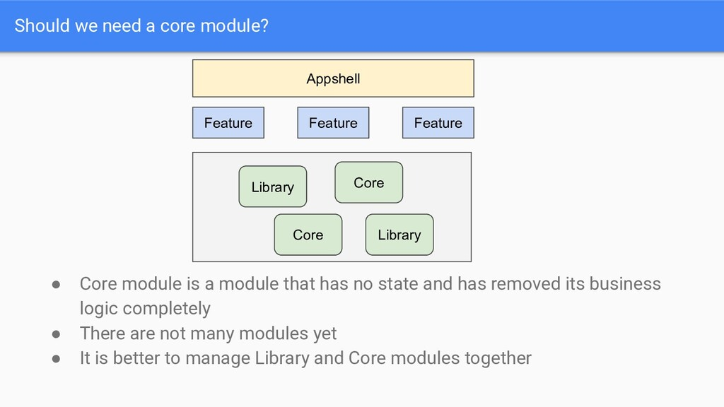 Should we need a core module? ● Core module is ...