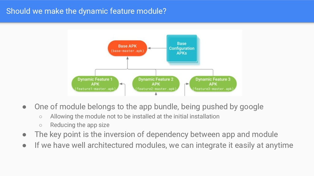 Should we make the dynamic feature module? ● On...