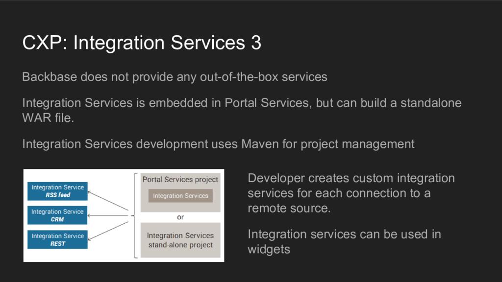 CXP: Integration Services 3 Backbase does not p...